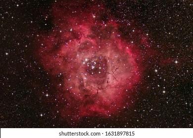 Rosette Nebula NGC 2244, Space nebula inside the unicorn constellation