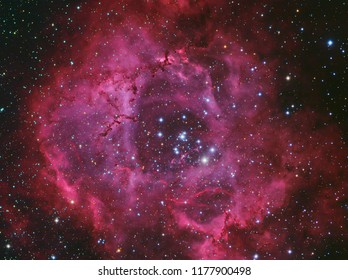 Rosette Nebula NGC2244 in Monoceros constellation with Galaxy,Open Cluster,Globular Cluster, stars and space dust in the universe and Milky way taken by dedicated astrophotography camera on telescope.