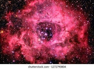 Rosette Nebula Red Color-Enchanced Galaxy Universe Background Wallpaper Original Image credit NASA