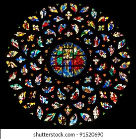 The rosette window of Santa Maria del Mar, Barcelona.