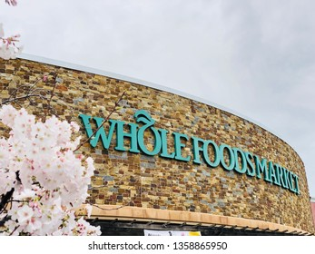 Roseville, CA - April 1, 2019: Closeup of Whole Foods Market in early spring, closeup. Market chain is owned by Amazon LLC.