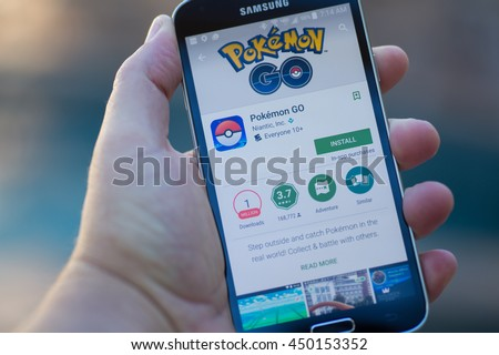 Roseville, CA - July 10: An Android user prepares to install Pokemon Go, a free-to-play augmented reality mobile game developed by Niantic for iOS and Android devices.