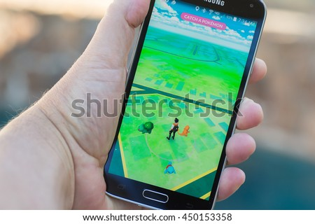 Roseville, CA - July 10: An Android user plays Pokemon Go, a free-to-play augmented reality mobile game developed by Niantic for iOS and Android devices.