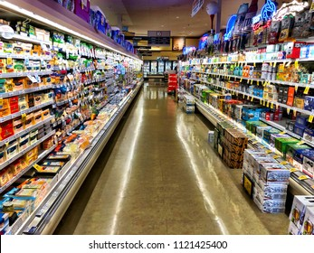 Roseville, CA - May 8, 3018: Empty isle Inside a Safeway supermarket, which is a popular American chain with over 1300 locations.