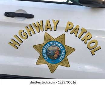 Roseville, CA - November 5, 2018: Closeup of CHP - California Highway Patrol car sign and emblem on door.