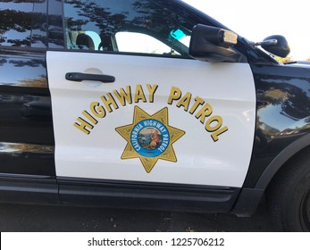 Roseville, CA - November 5, 2018: Closeup of CHP - California Highway Patrol car sign and emblem on door of a Ford SUV.