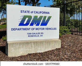 Roseville, CA - September 22, 2020: Department of Motor Vehicles (DMV) sign in front of the new location in Placer County.