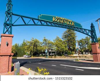 Roseville, CA - September 26, 2019: Downtown Roseville sign in Vernon Street when entering historic district.