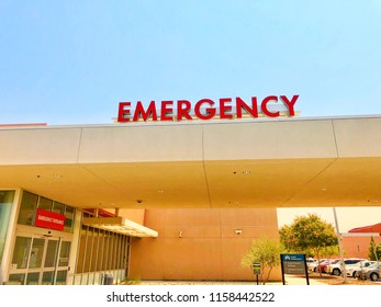 ROSEVILLE, CA, USA - AUG 15, 2018:  Kaiser Permanente Emergency Care Entrance Sign of Hospital