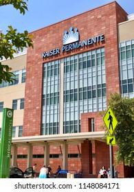 ROSEVILLE, CA, USA - AUG 2, 2018:  Kaiser Permanente logo sign on Medical Office Building .