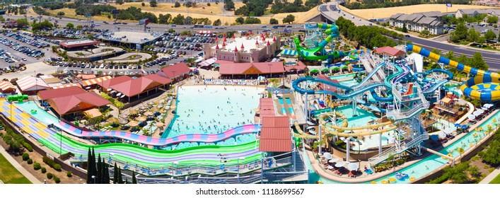 Roseville, CA, USA - JUN 22, 2018: Aerial View of Golfland-Sunsplash Waterpark with 30 exciting Twisting water rides and attractions in one location, thrilling waterslides, miniature golf and more.