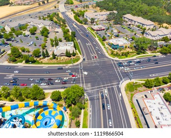 Roseville, CA, USA - JUN 22, 2018: Aerial View of cross road intersection.