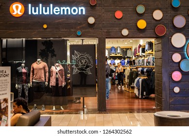 ROSEVILLE, CA/U.S.A. - DECEMBER 20, 2018: A photo of a lululemon storefront at the galleria mall.  The trendy store sells popular athleisure wear and yoga clothes.