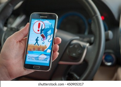 Roseville, CA/USA - July 11, 2016: An Android user loads Pokemon Go in a car, a free-to-play augmented reality mobile game developed by Niantic for iOS and Android devices.