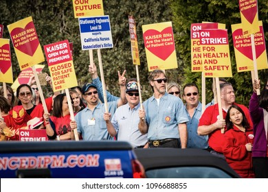 ROSEVILLE, CA/U.S.A. - NOVEMBER 10, 2014: Engineers and nurses strike over various Kaiser Permanente issues.  The Supreme Court's decision on Janus v. American Federation is be released this spring.