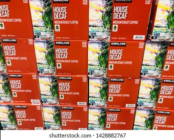 Roseville, Minnesota - June 1, 2019: Boxes of Kirkland Signature House Decaf K-Cups for Keurig coffee machine at a Costco Business Center wholesale warehouse store