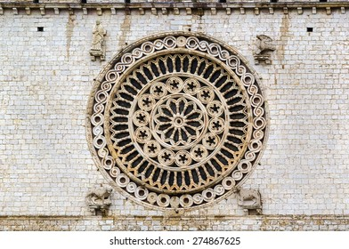 Rose-window in Basilica of St. Francis of Assisi, Italy