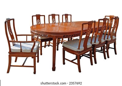 Rosewood dining set with eight chairs
