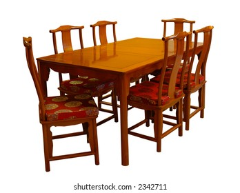 Rosewood dining set with six chairs