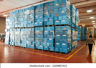 ROSH HAAYIN, ISRAEL. February 24, 2015. Blue ballot boxes stored at the Central Elections Committee warehouse prior to the parliamentary elections to the twentieth Knesset.