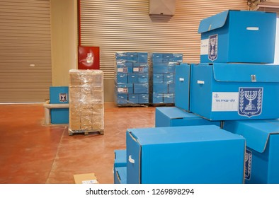 ROSH HAAYIN, ISRAEL. February 24, 2015. Blue ballot boxes for the IDF inside the Central Elections Committee main office prior to the parliamentary elections to the twentieth Knesset.