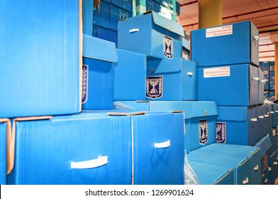 ROSH HAAYIN, ISRAEL. February 24, 2015. Blue ballot boxes inside the Central Elections Committee main office prior to the parliamentary elections to the twentieth Knesset.