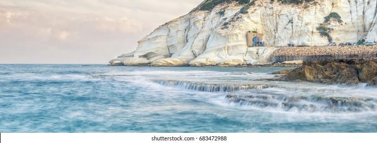 Rosh Hanikra Cliffs at sunrise Israel