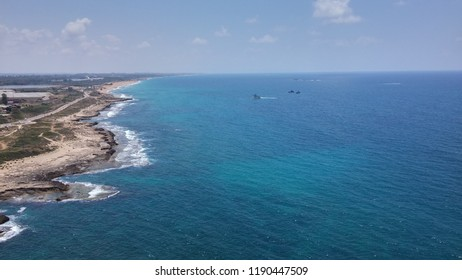 Rosh Hanikra, Israel 2018 - Israel's northern coastline, taken from the Rosh Hanikra view-point, the northest point of Israel (Border with Lebanon).