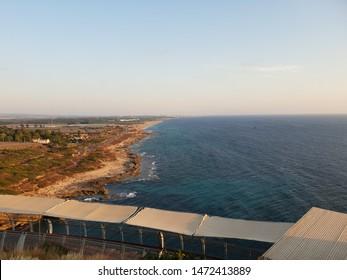 Rosh Hanikra - Nahariya - Israel.  Rosh Hanikra is a geologic formation on the border between Israel and Lebanon, located on the coast of the Mediterranean Sea, in the Western Galilee.