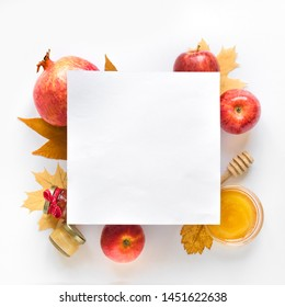 Rosh hashanah (jewish New Year holiday) concept. Creative layout of traditional symbols, top view, copy space.