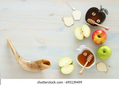 Rosh hashanah (jewish New Year holiday) concept. Traditional symbols.
