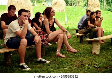 Rosia Montana village / Romania - August 12th 2016. People holding a social forum at the FanFest ecological festival. Topics included: social change, ecology, grassroots movements etc.