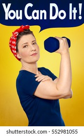 Rosie the Riveter with red kerchief and blue t-shirt lifting a weight in front of yellow background, YOU CAN DO IT text in speech bubble on top