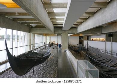ROSKILDE DENMARK 25 SEP 2018 View Of The Roskilde Viking Ship Museum