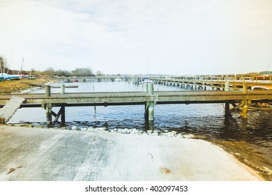 Roskilde Denmark country landscape with old pier