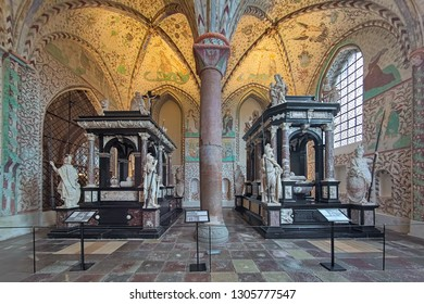 ROSKILDE, DENMARK - DECEMBER 14, 2015: Interior of Chapel of the Magi (or Christian I's Chapel) in Roskilde Cathedral with sepulchral monuments of the Danish kings Christian III and Frederick II.
