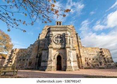 Roslin, Scotland - November 05, 2016: Rosslyn Chapel, or the Collegiate Chapel of St Matthew, a 15th-century chapel, Scotland.