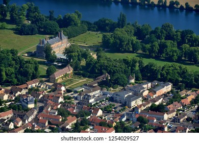 Rosny sur Seine, France - july 7 2017 : aerial photography of the classical castle and the city