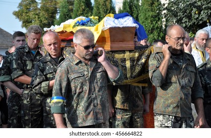 Rosokhach - Chortkiv - Ukraine - September 5, 2014. Villagers and district Rosokhach say goodbye to Ukrainian soldier killed in Donbas in the war with Russia