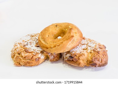 Rosquillas de San Isidro or Rosquillas del Santo, typical dessert of Madrid called, silly, ready, almond.