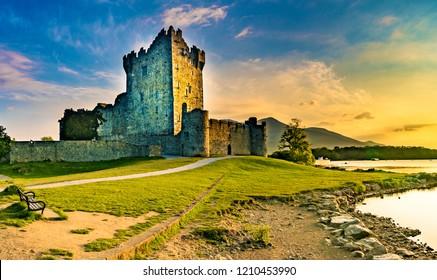 Ross Castle in Killarney at sunset, Ireland
