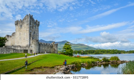 Ross Castle on a sunny morning, County Kerry, Ireland.