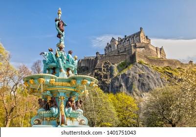 Ross Fountain and Edinburgh Castle in Edinburgh , Scotland