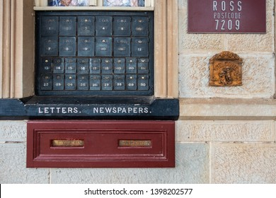 Ross, Tasmania/Australia-June 15th 2018: PO boxes on wall of the local post office in village.