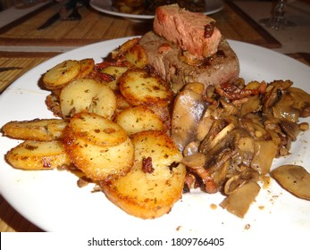 Rossini steack,french plate with fois gras and potatoes