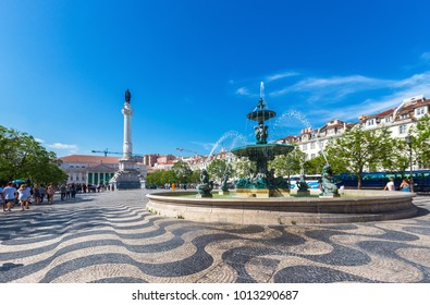 Rossio square old town in baixa district on sunny day at Lisbon,Portugal