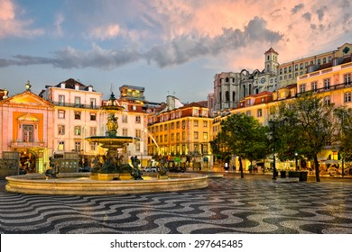 Rossio square and Santa Justa elevator in Lisbon, Portugal