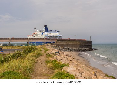 Rosslare Harbour, Wexford, Republic or Ireland. September 7th 2016. Ferry waiting for cargo and passengers at Rosslare Harbour, Wexford, Republic or Ireland.