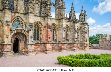 Rosslyn Chapel on a sunny summer day, located at the village of Roslin, Midlothian, Scotland. June-25-2017