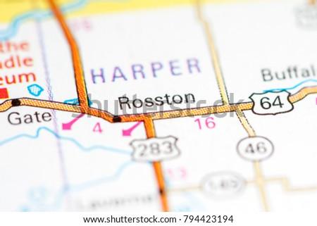 Rosston Oklahoma Usa On Map Stock Photo Edit Now 794423194